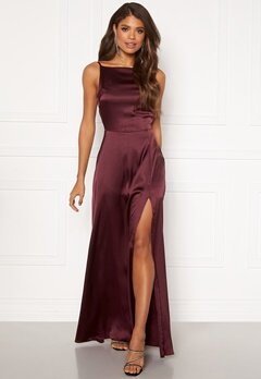 Moments New York Laylani Satin Gown Wine-red Bubbleroom.dk