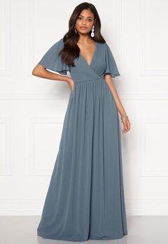 Moments New York Liana Chiffon Gown Grey-blue Bubbleroom.dk