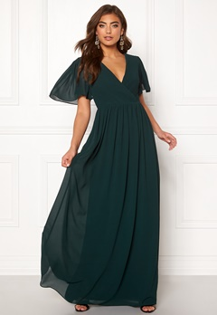 Moments New York Liana Chiffon Gown Dark green Bubbleroom.dk