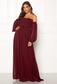 Moments New York Liliane Pleated Gown Wine-red Bubbleroom.dk
