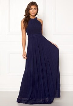 Moments New York Linnea Pleated Gown Navy Bubbleroom.dk