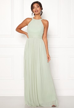 Moments New York Linnea Pleated Gown Grey-green Bubbleroom.dk