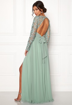 Moments New York Primrose Crochet Gown Grey-green Bubbleroom.dk