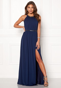 Moments New York Rose Draped Gown Dark blue Bubbleroom.dk