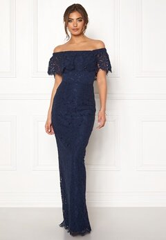 Moments New York Rose Lace Gown Dark blue Bubbleroom.dk
