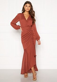 Moments New York Thea Dotted Gown Rust Bubbleroom.dk