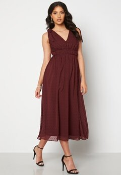 Moments New York Theodora Dotted Dress Wine-red bubbleroom.dk