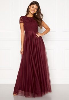 Moments New York Anna Mesh Gown Wine-red Bubbleroom.dk