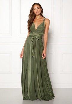 Goddiva Multi Tie Maxi Dress Olive Green Bubbleroom.dk