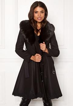 Ida Sjöstedt Nadine Coat Wool Black/Black Fur Bubbleroom.dk