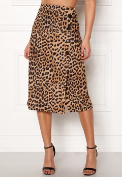 New Look Animal Asym Button Skirt Brown Pattern Bubbleroom.dk