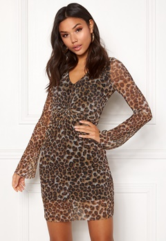 New Look Animal Plisse Twist Dress Brown Pattern Bubbleroom.dk