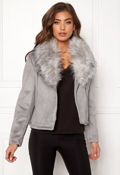 New Look Ava Shawl Collar Suedette Grey Bubbleroom.dk