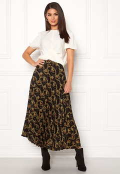 New Look Chain Print Pleat Skirt Black Pattern Bubbleroom.dk