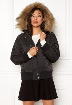 New Look Denham Fur Hood Bomber Black Bubbleroom.dk