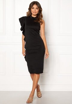 New Look Go Frill Bodycon Dress Black Bubbleroom.dk