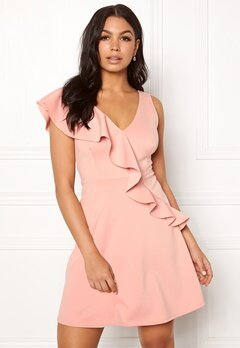 New Look Go Plunge Frill Dress Shell Pink Bubbleroom.dk
