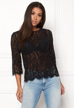 New Look Lace Zip Back Sleeve Tee Black Bubbleroom.dk