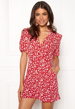 New Look Mi Ditsy playsuit red Pattern Bubbleroom.dk