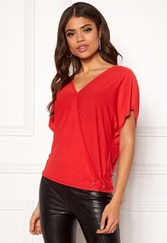 New Look Nongi Crepe Wrap Top 60 Bright Red Bubbleroom.dk