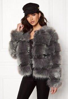 New Look Pelted Fur Short Coat Grey Bubbleroom.dk