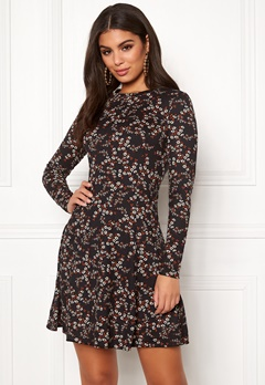 New Look Print L/S Flower Dress Black Pattern Bubbleroom.dk