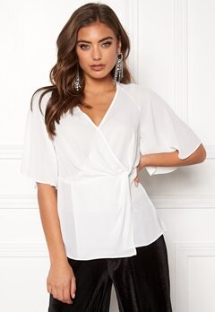 New Look Raquel Twist Wrap Top Cream Bubbleroom.dk