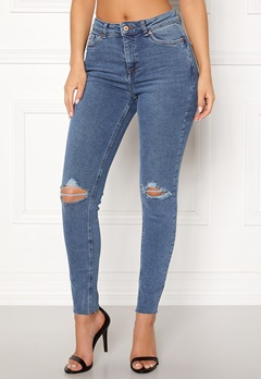 New Look Ripped Cut Off Jeans Mid Blue Bubbleroom.dk