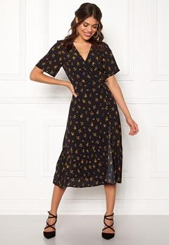 New Look Sable Floral Wrap Dress Black Pattern Bubbleroom.dk