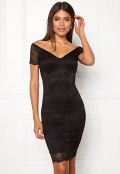 New Look Scallop Bardot Midi Dress Black Bubbleroom.dk