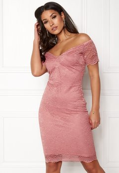 New Look Scallop Bardot Midi Dress Shell Pink Bubbleroom.dk