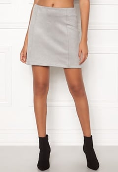 New Look Seam Suedette Mini Skirt Pale Grey Bubbleroom.dk