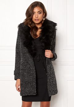 New Look Shawl Fake Fur Jacket Black Bubbleroom.dk
