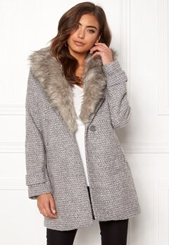 New Look Shawl Fake Fur Jacket Grey Bubbleroom.dk