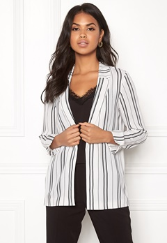 New Look Soft Crepe Stripe Blazer White Pattern Bubbleroom.dk