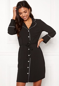 New Look Piped Belted Dress Black Pattern Bubbleroom.dk