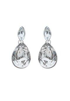 SNÖ of Sweden Noemi Small Drop Earrings Silver/Clear Bubbleroom.dk