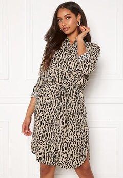 OBJECT Bay L/S Shirt Dress Humus AOP New Animal Bubbleroom.dk