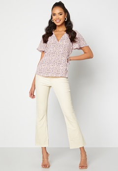 OBJECT Belle MW Coated Flared Pants Sandshell Bubbleroom.dk