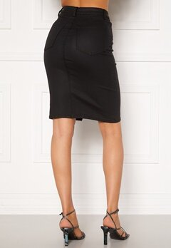 OBJECT Belle Supercoated Slit Skirt Black Bubbleroom.dk