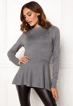 OBJECT Carin L/S Knit Pullover Medium Grey Melange Bubbleroom.dk