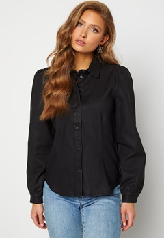 OBJECT Carla Coated Shirt Black Bubbleroom.dk