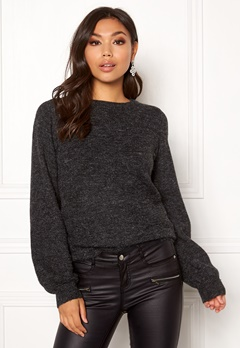 OBJECT Eve Nonsia LS Knit Pullover Dark Grey Melange Bubbleroom.dk