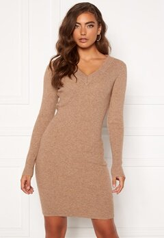 OBJECT Fae Thess L/S Rib Knit Dress Chipmunk Bubbleroom.dk