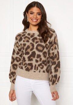 OBJECT Leoana L/S Knit Pullover Humus Pattern:leo Bubbleroom.dk