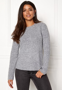 OBJECT Nonsia Rib Knit Pullover Light Grey Melange Bubbleroom.dk