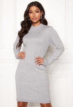OBJECT Thess L/S Knit Dress Light Grey Melange Bubbleroom.dk