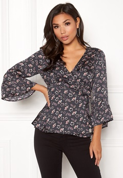 Odd Molly Cosmic Moment Wrap Blouse Almost Black Bubbleroom.dk