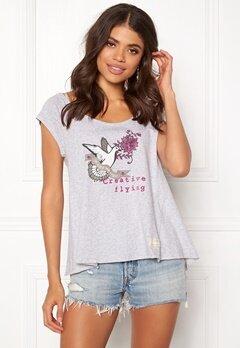 Odd Molly Print Love T-shirt Grey Melange Bubbleroom.dk