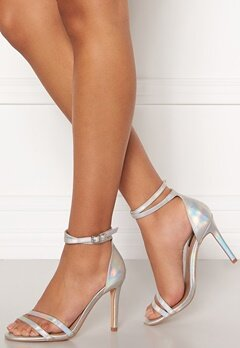 ONLY Aila Pu Iridescent Wrap Heeled Sandal Silver Bubbleroom.dk